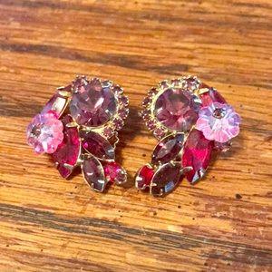 Red & fuchsia/purple clip on earrings